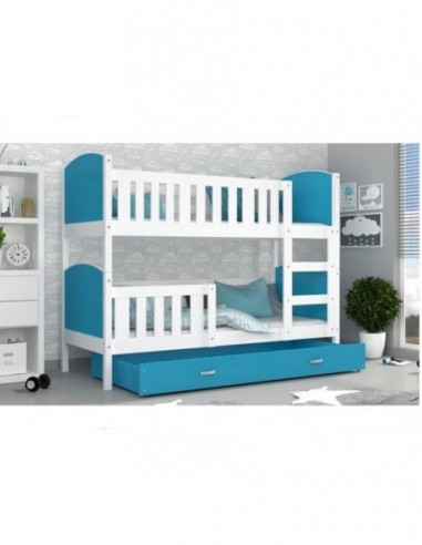 Patut tineret MyKids 2 in 1 Tami Color White/Blue-190x80 - imaginea 1